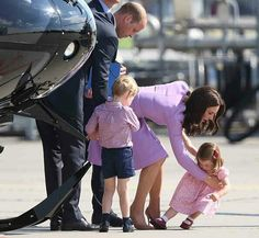 William Duke of Cambridge and Catherine Duchess of Cambridge, Prince George and Princess Charlotte  at Hamburg Germany airport. July 21 2017
