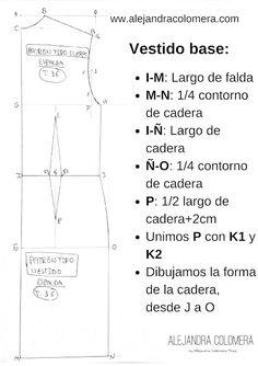 Cómo hacer el patrón base de vestido, delantero y espalda. Tutorial. Dress Patterns, Sewing Patterns, Estilo Hippie, Pattern Making, Refashion, Pattern Fashion, Sewing Tutorials, Pattern Design, How To Make