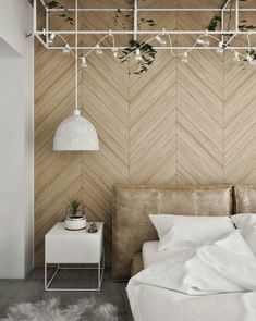Get inspired with our favorite modern wood accent wall ideas. These decorative wood walls are easy, affordable, and add chic sophistication to any room. Wooden Accent Wall, Accent Wall Decor, Accent Wall Bedroom, Wooden Wall Bedroom, Beautiful Bedroom Designs, Beautiful Bedrooms, Wall Behind Bed, Loft Interior Design, Loft Design