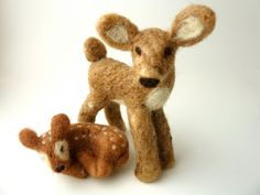 Felted Deer Doe and Fawn Set by sheepcreeknc on Etsy, $60.00