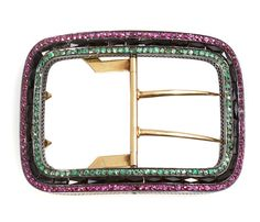 A gem-set and 18k gold belt buckle, French
