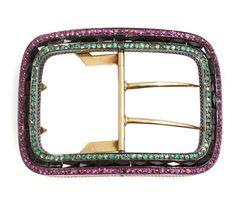 A gem-set and 18k gold belt buckle, French