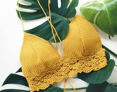 Ganchillo Bikini Top Bralette traje de baño por ZoleaByZoe en Etsy