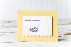 Send a word of encouragement with this precious handmade card idea. All stamps, dies, and card stock by A Muse Studio. Keep Swimmin' stamp set. #cas #diy #stamping #handstamped #papercrafts #cardideas #amusestudio #justkeepswimmin
