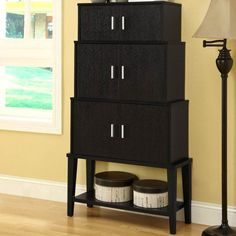 """Have to have it. Monarch 55 in. Stacking Style Storage Cabinet - Cappuccino - $160.98 @hayneedle  31""""w"""