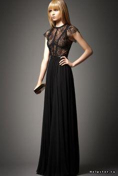 С чем надеть длинное черное платье? / длинное черное платье фото