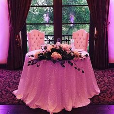 Loving this beautiful sweetheart table and chairs by @ricketyswank - these chairs are just a taste of all the options you can add to your wedding package here at Wedgewood Fallbrook! #soromantic #sweethearttable #wedgewoodwedding #wegotyoucovered #moodlighting #chic #marriagerocks #sequins #wedgewoodfallbrook #fallbrookwedding