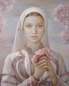 Roses fragrance / 2011 / 30/24 / oil on canvas Wonderful Slavic art with folklore detail from Bulgaria Maria Ilieva