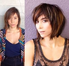 medium layered hairstyle with highlights