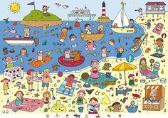 sea holiday -Anja Boretzki Láminas para expresión oral y vocabulario