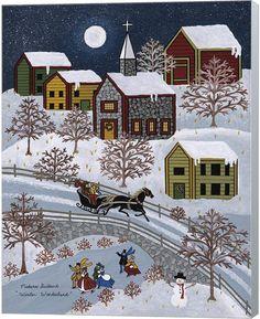"Folk Art Winter print by Medana Gabbard titled ""Winter Wonderland"" Henri Rousseau, Canvas Artwork, Canvas Art Prints, Framed Canvas, Framed Prints, Illustrations, Illustration Art, Primitive Folk Art, Arte Popular"