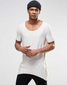 0d2dfa0b50 ASOS Super Longline T-Shirt With Raw Scoop Neck And Pointed Hem In Off  White - White cap grey  sales  style  fashion