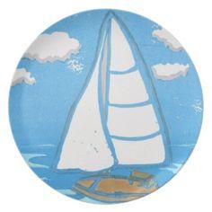 Sailboat Plate; Abigail Davidson Art