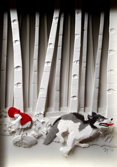 Contes papier Illustration Little Red Riding Hood Giclee Art Print Grimm Fairy 3d Paper Art, Paper Toy, Paper Artwork, Paper Artist, Kirigami, Paper Cutting, Paper Illustration, Food Illustrations, Red Riding Hood