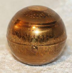 Gold tone Globe Shape Pygmalion Powder Compact  #antique #vintage #compact