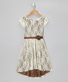 White Lace Leopard Hi-Low Dress - Girls by Youngland on #zulily