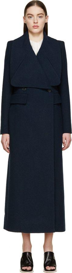 Chloé Navy Wool Crêpe Long Double-Breasted Coat