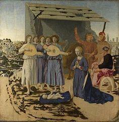Piero della Francesca -La Natività è un dipinto, olio su tavola (124,4x122,6cm), dell'ultima fase artistica di Piero della Francesca, databile al 1470-1475 (o secondo alcuni fino al 1485) e oggi conservato nella National Gallery di Londra