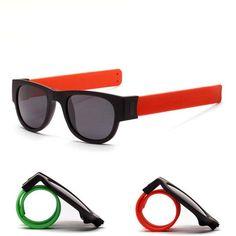 593c8c2beef98 Slappable Bracelet Polarired Sunglasses for Men Wristband Fold Shades Oculos  Colorful Fashion Mirror