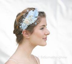 Wedding Headpiece of Vintage Blue Velvet Leaves от BeSomethingNew