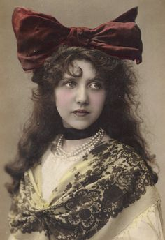 And a Big Red Bow c.1905 Portrait Postcard