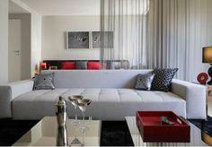 Apartment: Studio Apartment Decorating Idea Grey Sofa Red Couches ...
