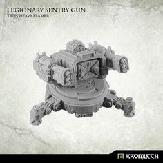 This set contains one Legionary Sentry Gun armed with Twin Heavy Flamer. Designed to fit futuristic 28mm heroic scale. This model is approximately 32mm height [without mechanical legs] from the bottom of the base to the top of optical sensor. Turret is mounted at ring which diameter is 26mm and fits top hatch of APC. Tripod diameter is approximately 36mm [without mechanical legs].