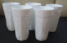 5 Indiana Colony Harvest Grape Milk Glass Vintage Paneled Tumblers Iced Tea 5 ¾""