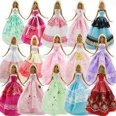 많은 15 개 = 10 쌍 신발 & 5 웨딩 드레스 파티 가운 공주 귀여운 복장 옷 barbie 인형 소녀 선물 임의의 선택
