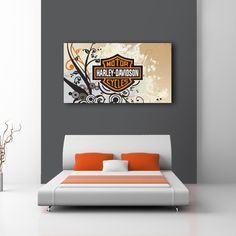 For the Hog enthusiast in all of us. Beautiful Harley Davidson logo design on canvas. I design HD logos into custom art, be it on canvas, vinyl, wood or your supply media. Possibilities are limitless. Email me at modmoddesign at yahoo dot com and we'll talk.