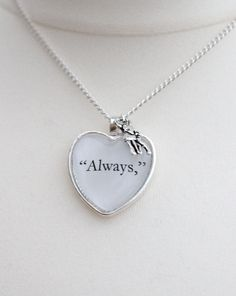Always Quote Necklace with Silver Doe Charm. $18.00, via Etsy.