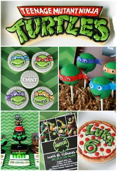Awesome Teenage Mutant Ninja Turtle party ideas! Amazing birthday cake, cake pops, cookies, and decorations! See the whole party on CatchMyParty here: http://catchmyparty.com/parties/cowabunga-tmnt-in-the-house #tmnt #boybirthday #superheroes