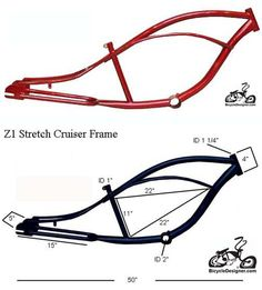 """Inlcudes:Z1 STRETCH Cruiser frame RED This frame can use the following wheels and forks.24"""" or 26"""" rear wheel with up to 3"""" wide tire 26"""" springer bent or straight fork and a 22.2mm headset Chopper fork with a 1"""" triple tree and a 1"""" threadless headset"""