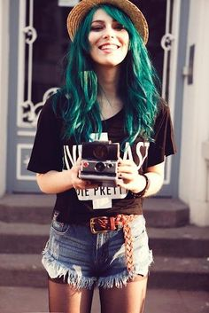 Teal hair!!! Love it! Wish I was still a teenager. Or that my job didn't care so much about my appearance. Some day I'll have funky colored hair again :)