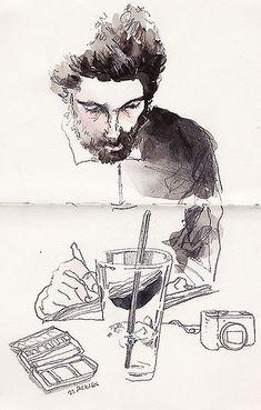 Luís Simões Sketchbook Drawings, Art Sketches, Figure Drawing, Painting & Drawing, Art Postal, Sketchbook Inspiration, Human Art, Watercolor Sketch, Urban Sketching