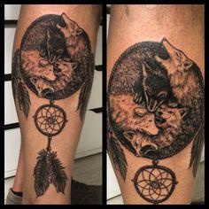 Dreamcatcher wolf tattoo from customer idea