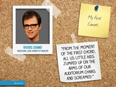 "Today, we are featuring #Rivers #Cuomo, a #musician and #singer-#songwriter who is best known as the lead singer, lead #guitarist, and principal songwriter of #Weezer. Rivers' love of #music is why we thought he would have an interesting #moment to share for ""My First #Concert…"" You can read his full story here: http://6israndom.com/featured/story/4ffd90a4eb899775dd00000a#"