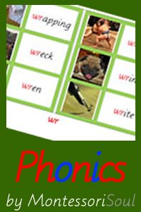 Free Printable - Full set of Phase 2 - 5 phonics teaching resources. Montessori Pink, Blue and Green Box 2 and Box 4 materials.