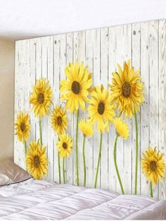 Blooming Sunflower Pattern Wall Decor Tapestry