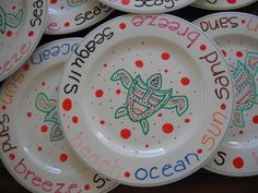 My cute new plates I painted with ceramic paint.  Let dry 24 hrs and bake at 150 degrees for 40 minutes...voila!!