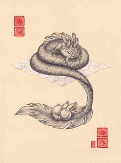 cute dragon art   Dragon and rabbit sleeping cute. Family by Cameron-Brideoake ...