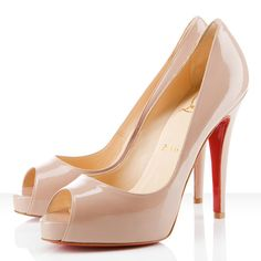 Christian Louboutin nude peeptoe concealed platform stilettos. What dreams are made of.
