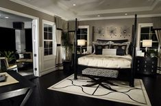 Custom Master Bedroom Design Ideas (Photos) Elegant black and white bedroom design with splashes of zebra print (the bench at the foot of the bed).Elegant black and white bedroom design with splashes of zebra print (the bench at the foot of the bed). Dream Bedroom, Home Decor Bedroom, Dark Furniture Bedroom, Bedroom Themes, Diy Bedroom, Bedroom Colors, Trendy Bedroom, Decor Room, Night Bedroom
