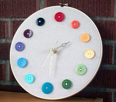button clock for craft room...I like this idea but I would customize it to whoever it's for...like use small spools of thread or little flowers or something...