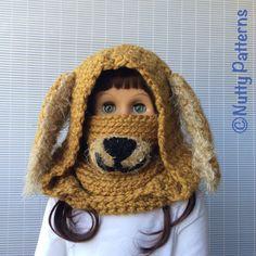 Crochet Pattern Dog Hooded Cowl Instant by nuttypatterns on Etsy Crochet Mittens, Crochet Poncho, Crochet Beanie, Crochet Hooks, Crochet Pattern, Knitting Patterns, Crochet For Kids, Crochet Baby, Nose Warmer
