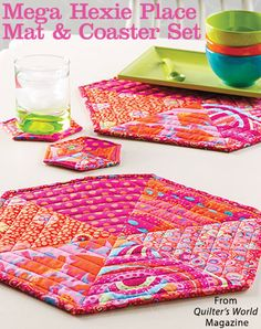 Mega Hexie Place Mat & Coaster Set from the Summer 2016 issue of Quilter's World Magazine. Order a digital copy here: https://www.anniescatalog.com/detail.html?prod_id=131257