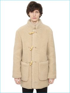 Lemaire Men's Shearling Effect Wool Coat