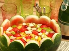 Watermelon Wave. 1 bottle Barefoot Moscato, 1 watermelon, 1 pineapple, 1 red apple, 1 bunch of grapes, 1 mango