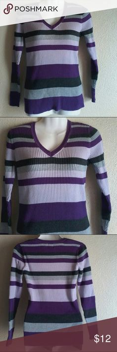 Women shirt Gently worn in excellent condition long sleeve Meduim size 100% cotton colors are 2 shades of purple and 2 shades of gray St. John's Bay Tops Blouses
