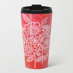 Pink flowers Travel Mug by seelas Stainless Steel Metal, Travel Mugs, Wraparound, Handicraft, Pink Flowers, Construction, Cold, Drinks, Fit